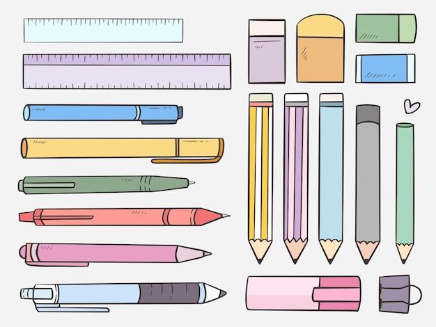 Conjunto fixo de lápis e caneta