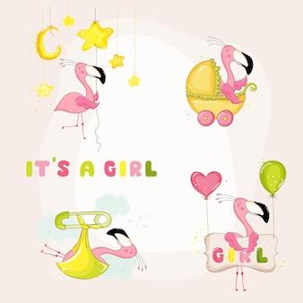 Conjunto flamingo de chá de bebê ou cartão de chegada