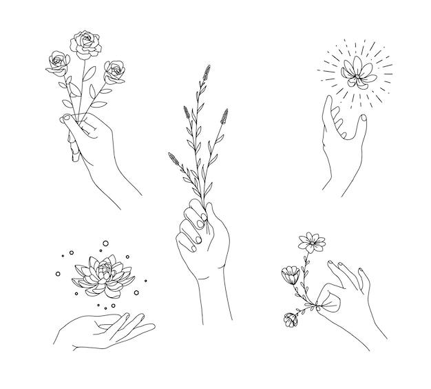 Conjunto floral à mão com estilo de desenho à mão