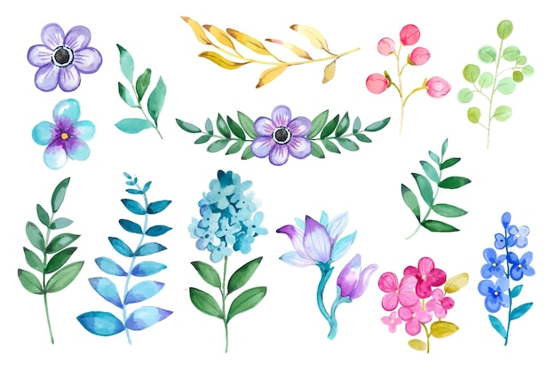 Conjunto floral aquarela pintado à mão