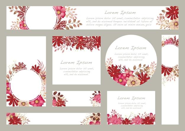 Conjunto floral aquarela