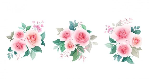Conjunto floral arranjos botânicos de pêssego rosa flores, folhas, galhos.