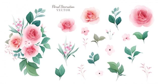 Conjunto floral arranjos botânicos e elementos individuais de pêssego rosa flores, folhas, galhos.