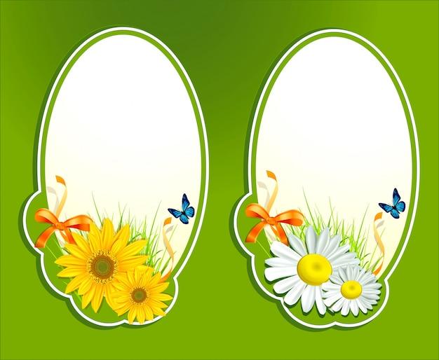 Conjunto, floral com ervas frescas e borboleta
