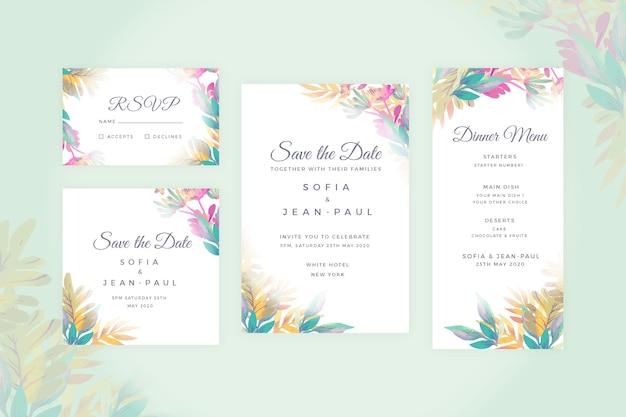 Conjunto floral de artigos de papelaria de casamento