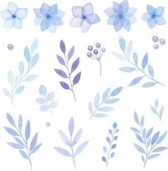 Conjunto floral de elementos aquarela de flores azuis e folhas