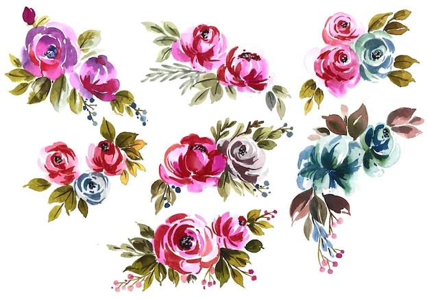 Conjunto floral desenhado à mão em aquarela