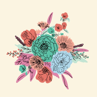 Conjunto floral desenhado a mão