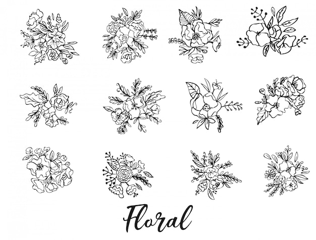 Conjunto floral flores, folhas