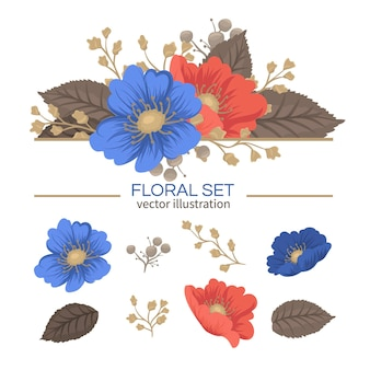 Conjunto floral fofo