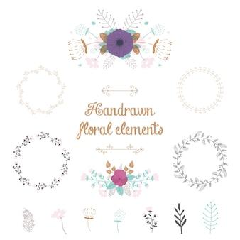 Conjunto floral handrawn
