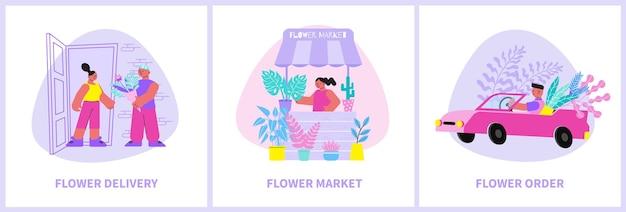 Conjunto florístico com três composições planas de legendas e personagens humanos carregando e vendendo flores