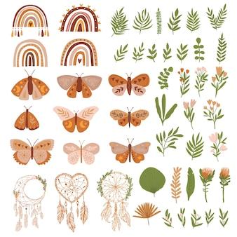 Conjunto fofo com borboletas e folhas de arco-íris, flores, apanhador de sonhos cor marrom pastel em boho