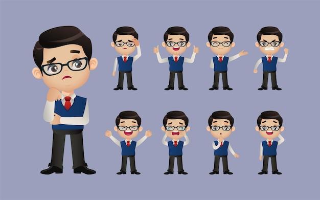 Conjunto fofo - conjunto de empresários com emoções diferentes