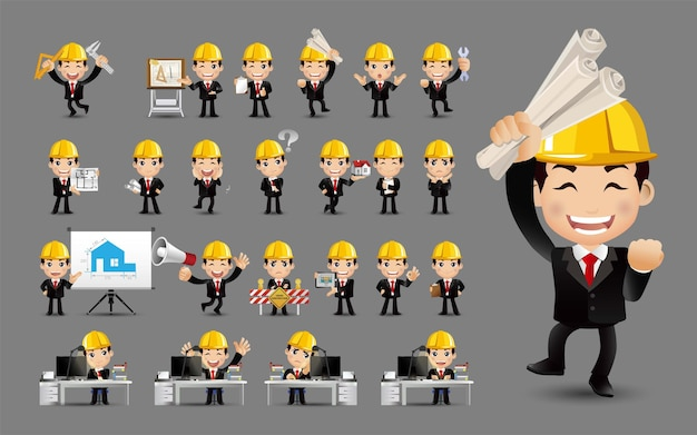 Conjunto fofo conjunto de engenheiros com emoções diferentes
