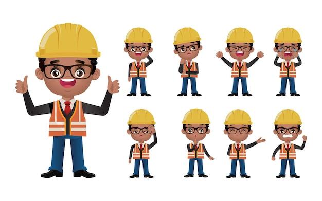 Conjunto fofo conjunto de engenheiros com emoções diferentes Vetor Premium