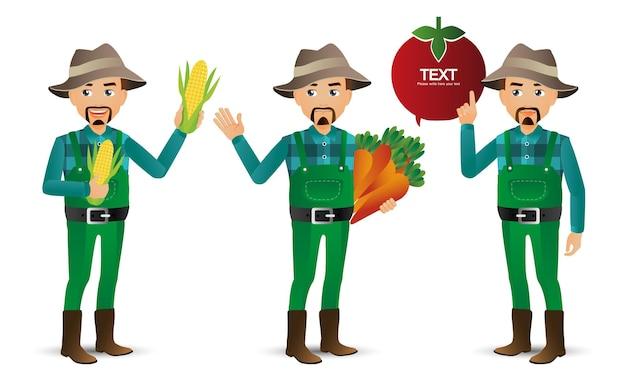 Conjunto fofo conjunto de fazendeiros e jardineiros
