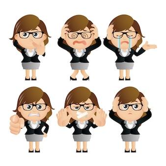 Conjunto fofo conjunto de personagem de mulher de negócios