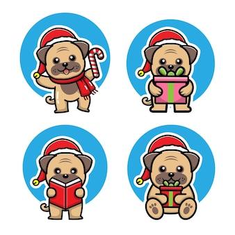 Conjunto fofo de cachorro comemorando ilustração vetorial de natal