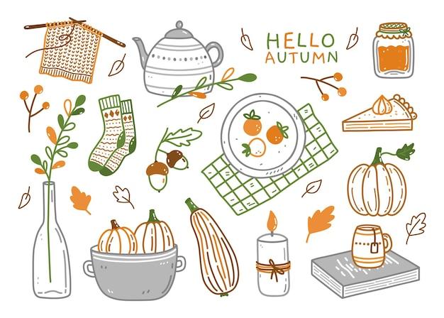 Conjunto fofo de elementos de outono em estilo doodle