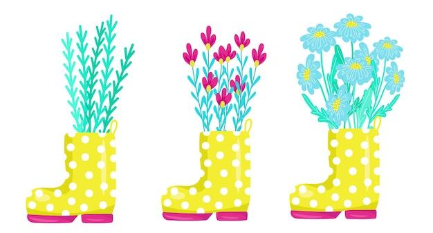Conjunto fofo de flores de primavera com botas de borracha amarelas ilustração vetorial em estilo cartoon desenho à mão