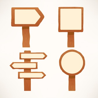 Conjunto fofo de ilustrações de placas de sinalização de madeira com diferentes formatos
