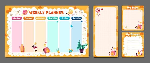 Conjunto fofo de planejador semanal ou diário para impressão, anotações, papel, design, organizador de horário escolar