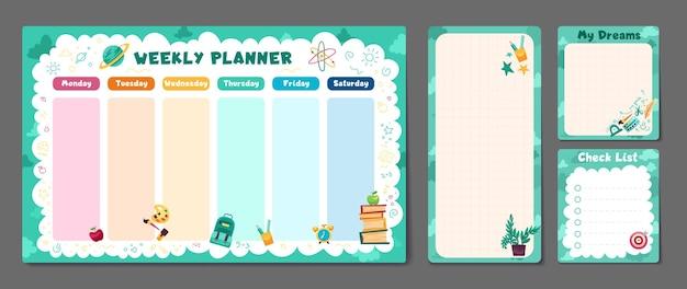 Conjunto fofo de planejador semanal ou diário para impressão, nota, papel, design, agenda escolar, cronograma
