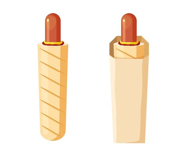 Conjunto francês de baguete de cachorro-quente sanduíche de linguiça grelhada em pão crocante em embalagem de papel fast food