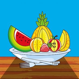 Conjunto fresco e saudável de frutas