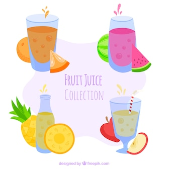 Conjunto, fruta, sucos
