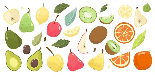 Conjunto frutas pêra, maçã, abacate, kiwi, laranja com folhas. vegan, dieta alimentar.