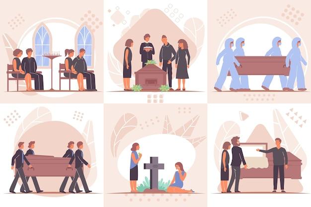 Conjunto funerário de composições quadradas com vistas de rituais fúnebres e caixa da eternidade covid-19