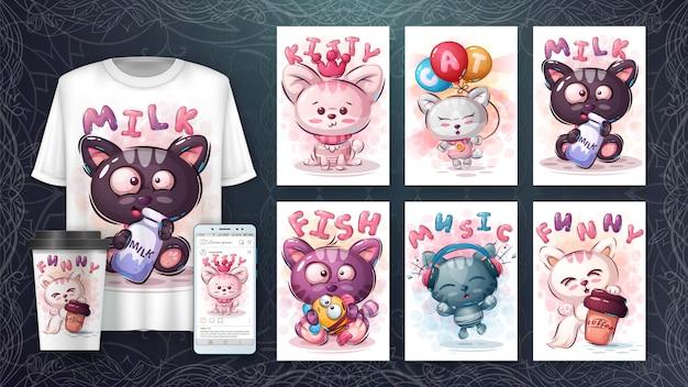 Conjunto gato feliz - cartaz e merchandising