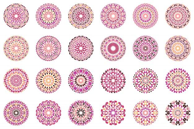 Conjunto geométrico abstrato ornamentado mandala floral