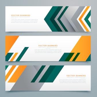 Conjunto geométrico de design de banner empresarial