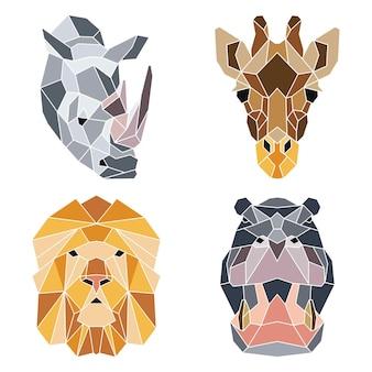 Conjunto geométrico de retratos de animais totêmicos