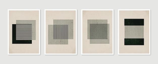 Conjunto geométrico moderno de pôsteres contemporâneos estéticos abstratos e minimalistas desenhados à mão