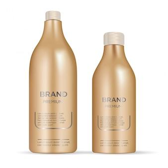Conjunto glamouroso realista de frascos de cosméticos
