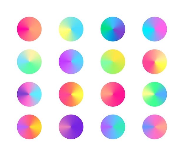 Conjunto gradiente cônico radial na moda pastel. círculos gradientes coloridos. elementos de design vívido de vetor