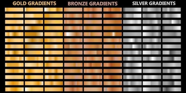 Conjunto gradiente de folha de metal dourado brilhante