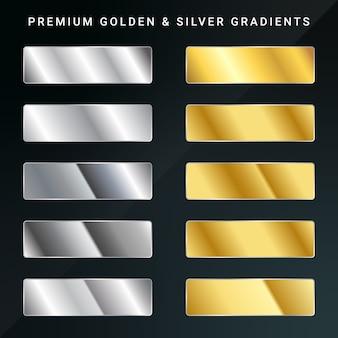 Conjunto gradiente dourado e prateado.