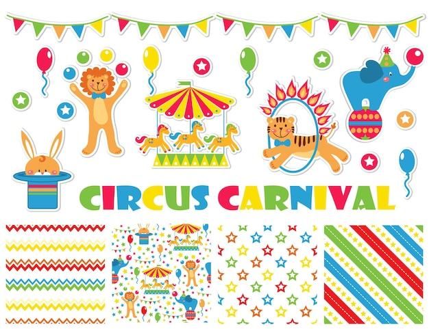 Conjunto gráfico com animais fofos de circo