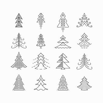 Conjunto gráfico de árvore de natal, estilo linear moderno