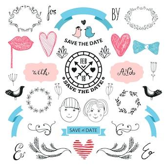 Conjunto gráfico de casamento setas corações coroas de louros fitas e etiquetas