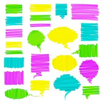 Conjunto gráfico de escova de marca-texto de mão desenhada