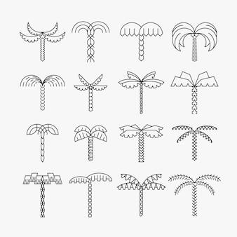 Conjunto gráfico de palmeiras, estilo linear, objetos isolados