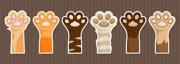 Conjunto grande de adesivos de patas de gatinho. patch de pata de cachorro