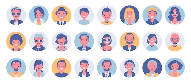 Conjunto grande de avatar de pessoas