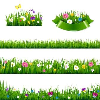 Conjunto grande de bordas de flores